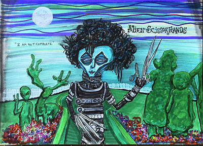 Drawing - Alien Scissorhands by Similar Alien