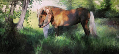 Painting - A Girl And Her Mustang by Anna Rose Bain