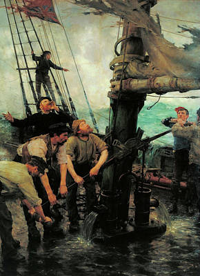 Painting - All Hands To The Pumps by Henry Scott Tuke