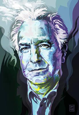 Allan Rickman Portrait In Blue Original