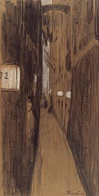 Drawing - Alley In Genoa by Santiago Rusinol