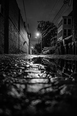 Photograph - Alleyway Reflections In B/w by Doug Ash