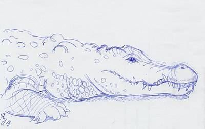 Drawing - Alligator Drawing by Mike Jory