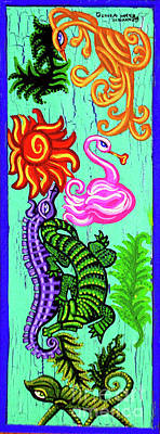 Animals Paintings - Alligator Seahorse Chameleon And Birds by Genevieve Esson