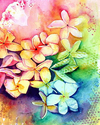 Painting - Aloha Plumeria Blossoms by Marionette Taboniar
