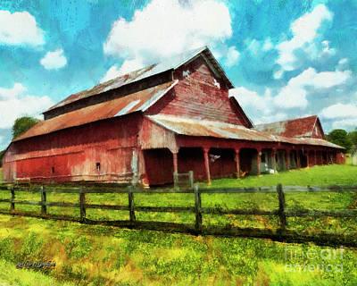 Digital Art - Along the Rural Road Old Barn in Tennessee III by Rhonda Strickland