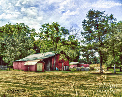 Digital Art - Along the Rural Road Old Barn in Tennessee by Rhonda Strickland