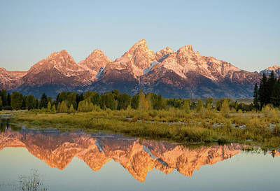 Photograph - Alpen Glow On The Tetons by Mary Hone