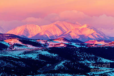 Photograph - Alpenglow And Storm Clouds by Steve Krull