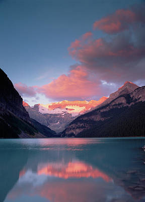 Photograph - Alpenglow, Lake Louise And Victoria by Tim Fitzharris/ Minden Pictures