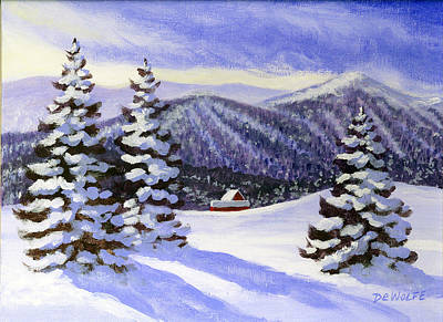 Painting - Alpine Winter Sketch by Richard De Wolfe