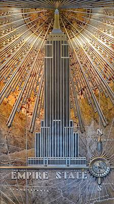 Photograph - Aluminum Relief Inside The Empire State Building - New York by Marianna Mills