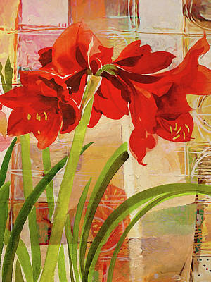Painting - Amaryllis Flower by Lutz Baar