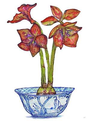 Painting - Amaryllis In Chinoiserie by Kimberly Potts