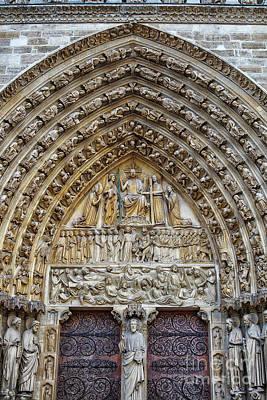 Photograph - Amazing Entry Architectural Details Cathedral Notre Dame De Paris France by Wayne Moran