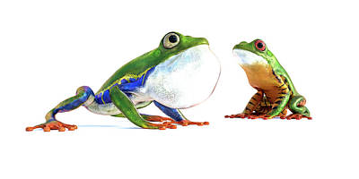 Animals Digital Art - Amazon Frog Friends by Betsy Knapp