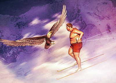 Digital Art - American Bald Eagle Vs Summer Skier by Bob Orsillo