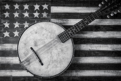Photograph - American Banjo Black And White by Garry Gay
