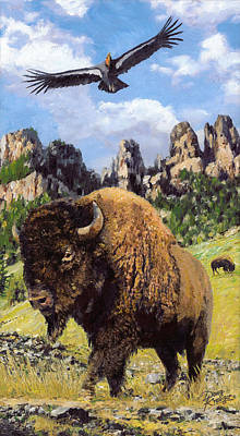 Landmarks Painting Royalty Free Images - American Bison Royalty-Free Image by Doug Kreuger