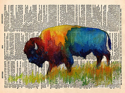 Bison Wall Art - Painting - American Buffalo IIi On Vintage Dictionary by Hailey E Herrera