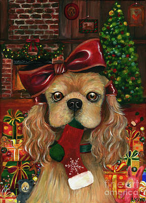 Painting - American Cocker Spaniel Christmas by Akiko Okabe