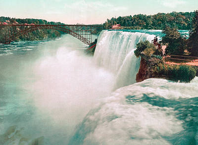 Landmarks Royalty Free Images - American Falls of Niagara - Photochrom - 1898 Royalty-Free Image by War Is Hell Store