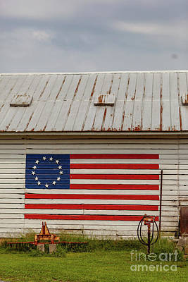 Photograph - American Flag On Barn by George Sheldon