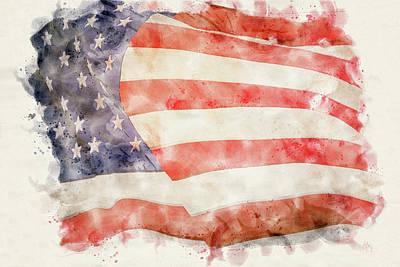 Pineapple - American Flag Watercolor by Dan Sproul