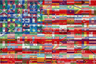 Painting - American Flags Of The World by Tony Rubino