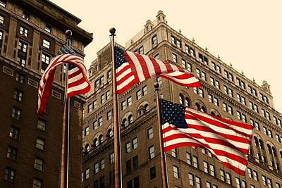 All You Need Is Love - American Flags Waving In Manhattan by Angie Tirado