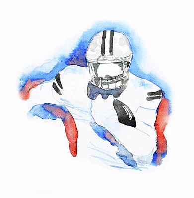 Painting - American Football Player Watercolor Painting #mahsawatercolor by Mahsa Watercolor