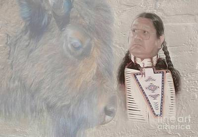Photograph - American Indian And Buffalo by Dyle Warren