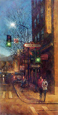 Landmarks Painting Royalty Free Images - American Intersection, Flagstaff, AZ Royalty-Free Image by Dan Nelson