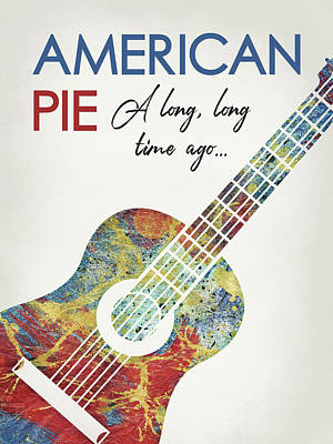 Anthem Wall Art - Digital Art - American Pie - Guitar by Flo Karp