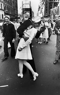Photograph - American Sailor Kisses White-uniformed by Alfred Eisenstaedt