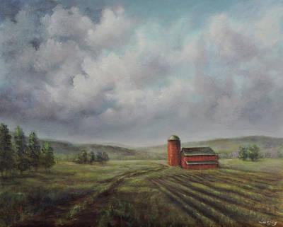 Painting - American scene Red Barn  by Katalin Luczay