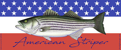 Photograph - American Striper Striped Bass Flag by Charles Harden