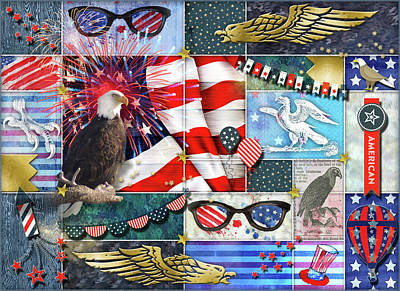 Digital Art - Americana Eagles Collage by Linda Carruth