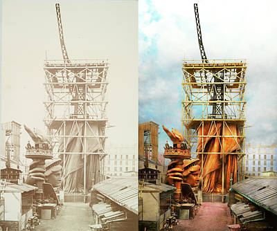 Photograph - Americana - Statue Of Liberty - Half Dressed 1883 - Side By Side by Mike Savad