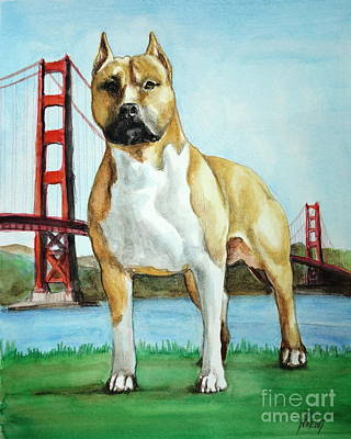 Painting - Amstaff Junior by Jindra Noewi