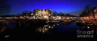 Photograph - Amsterdam Canal Panorama At Night by IPics Photography