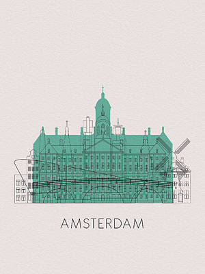 Digital Art - Amsterdam Landmarks by Inspirowl Design