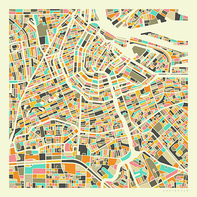 Amsterdam Wall Art - Digital Art - Amsterdam Map 1 by Jazzberry Blue