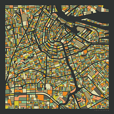 Amsterdam Wall Art - Digital Art - Amsterdam Map 2 by Jazzberry Blue