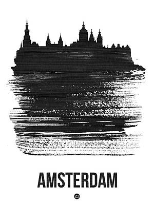 Amsterdam Wall Art - Mixed Media - Amsterdam Skyline Brush Stroke Black by Naxart Studio