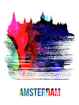 Holland Wall Art - Mixed Media - Amsterdam Skyline Brush Stroke Watercolor   by Naxart Studio