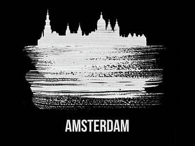 Holland Wall Art - Mixed Media - Amsterdam Skyline Brush Stroke White by Naxart Studio