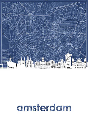 Royalty-Free and Rights-Managed Images - Amsterdam Skyline Map Blue by Bekim M