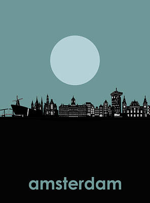 Abstract Skyline Royalty-Free and Rights-Managed Images - Amsterdam Skyline Minimalism by Bekim M