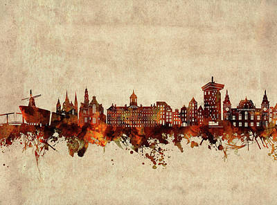 Abstract Skyline Royalty-Free and Rights-Managed Images - Amsterdam Skyline Sepia by Bekim M